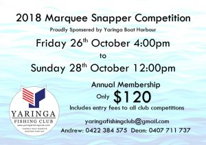 2018 - Marquee Snapper Competition Flyer